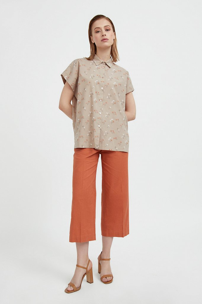 Хлопковая рубашка с цветочным рисунком, Модель S21-11017, Фото №1