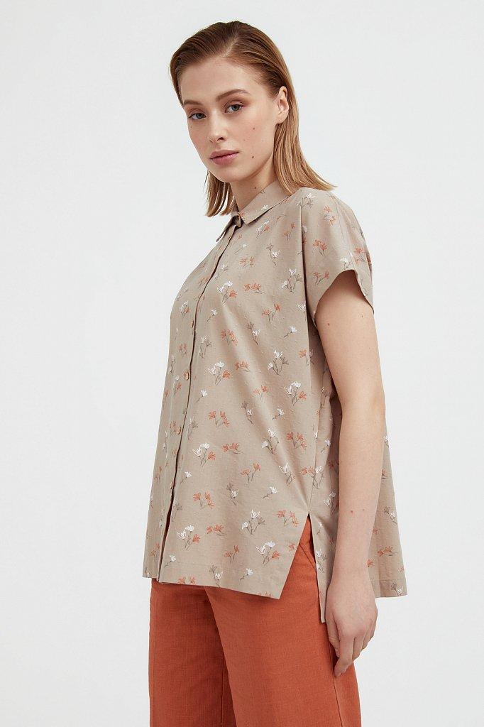 Хлопковая рубашка с цветочным рисунком, Модель S21-11017, Фото №3