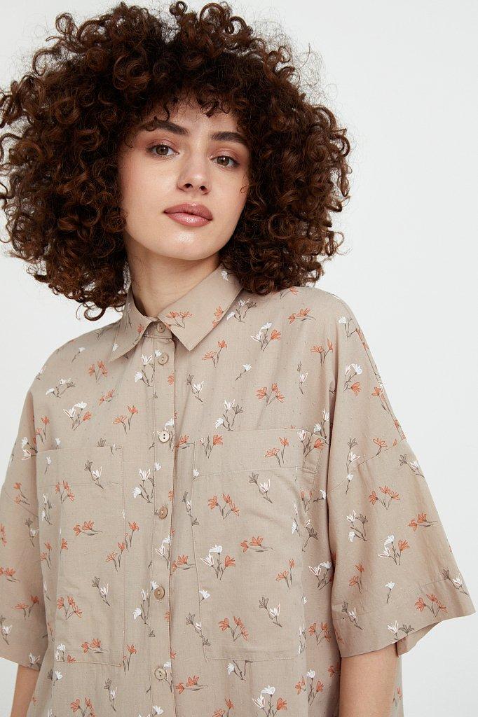 Рубашка оверсайз из хлопка, Модель S21-11019, Фото №1