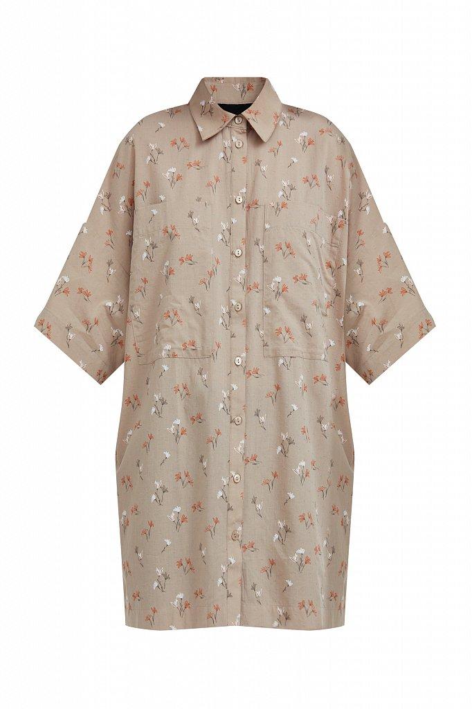 Рубашка оверсайз из хлопка, Модель S21-11019, Фото №7