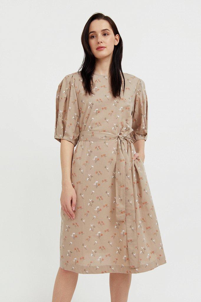 Хлопковое платье с цветочным принтом, Модель S21-11030, Фото №2
