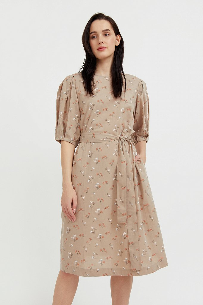 Хлопковое платье с поясом, Модель S21-11030, Фото №2