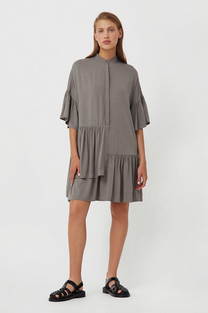 Свободное платье с асимметричными воланами, Модель S21-12023, Фото №1
