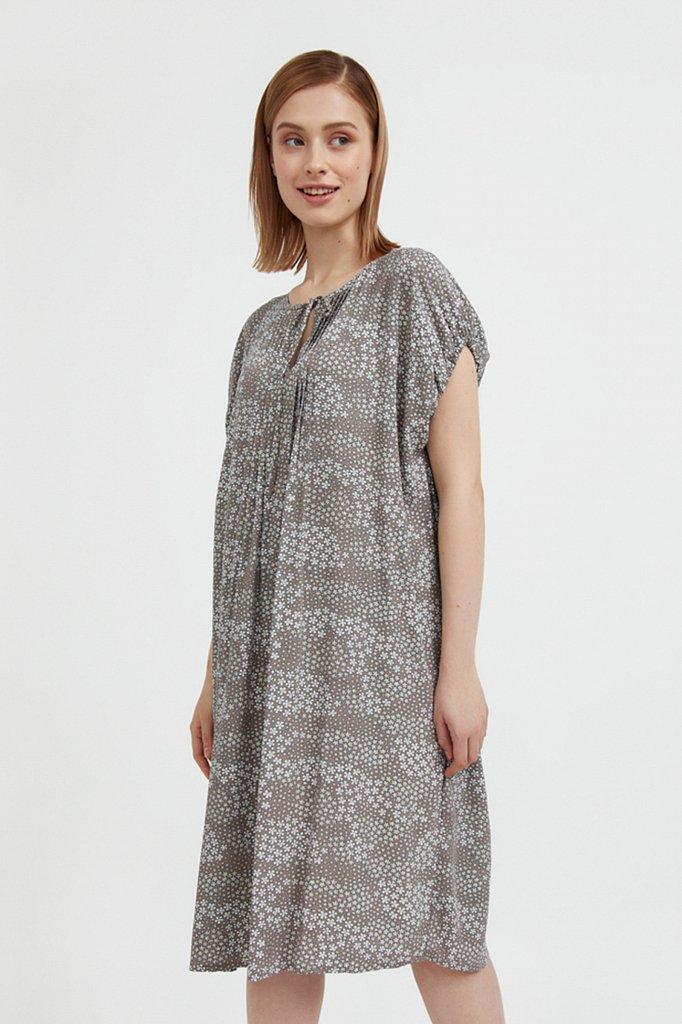 Платье с цветочным принтом из мягкой вискозы, Модель S21-12093, Фото №2