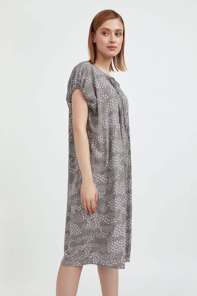 Платье с цветочным принтом из мягкой вискозы, Модель S21-12093, Фото №3