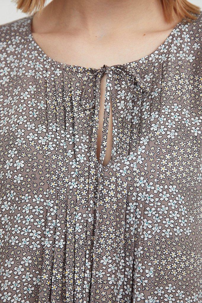 Платье с цветочным принтом из мягкой вискозы, Модель S21-12093, Фото №5