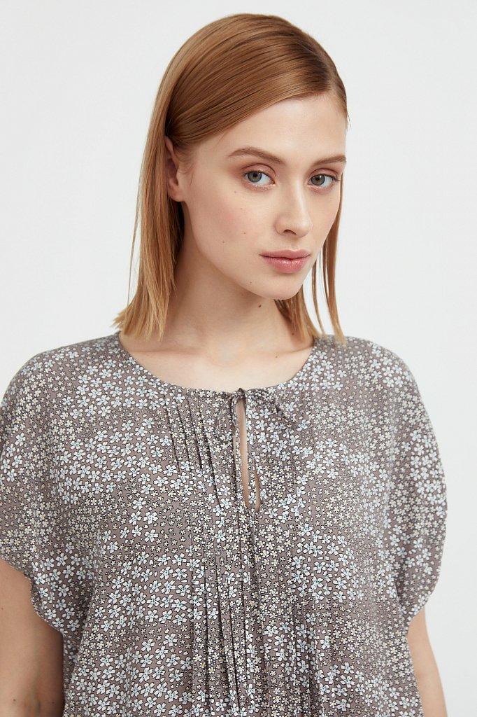 Платье с цветочным принтом из мягкой вискозы, Модель S21-12093, Фото №6