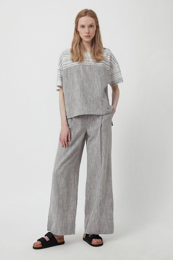 Свободная блузка с полосатым принтом, Модель S21-14037, Фото №3