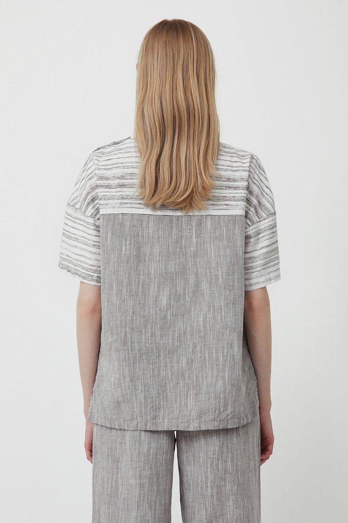 Свободная блузка с полосатым принтом, Модель S21-14037, Фото №4