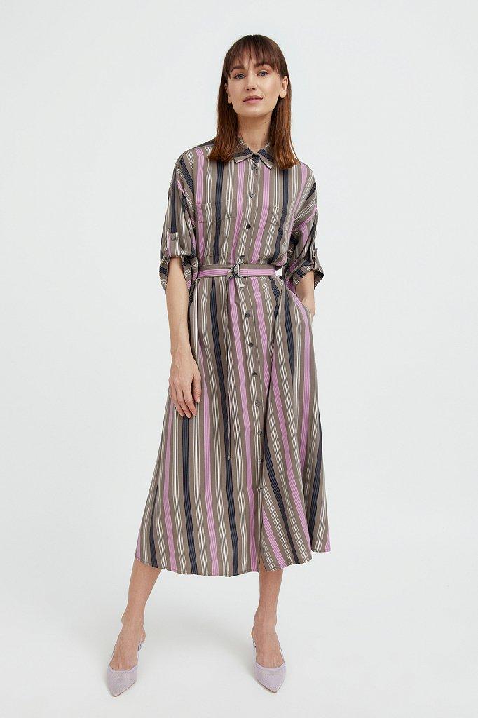 Платье-рубашка в яркую полоску, Модель S21-14078, Фото №1