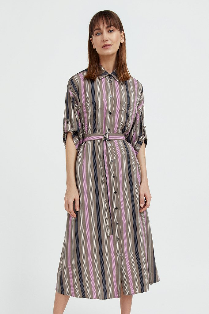 Платье-рубашка в яркую полоску, Модель S21-14078, Фото №2