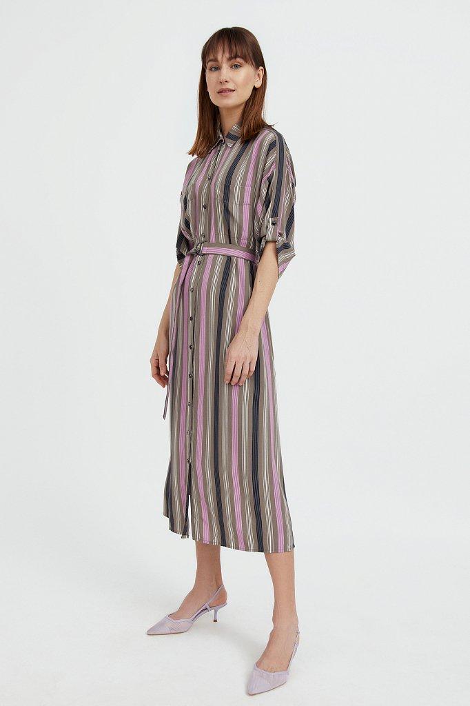 Платье-рубашка в яркую полоску, Модель S21-14078, Фото №3