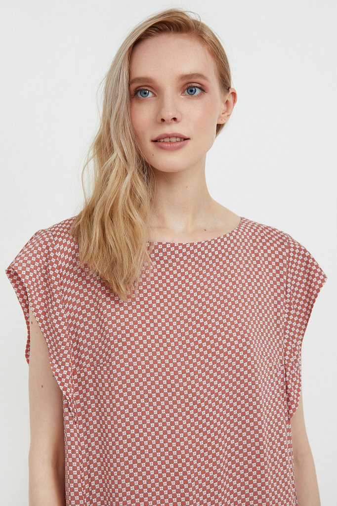 Платье из вискозы с геометричным принтом, Модель S21-14080, Фото №6