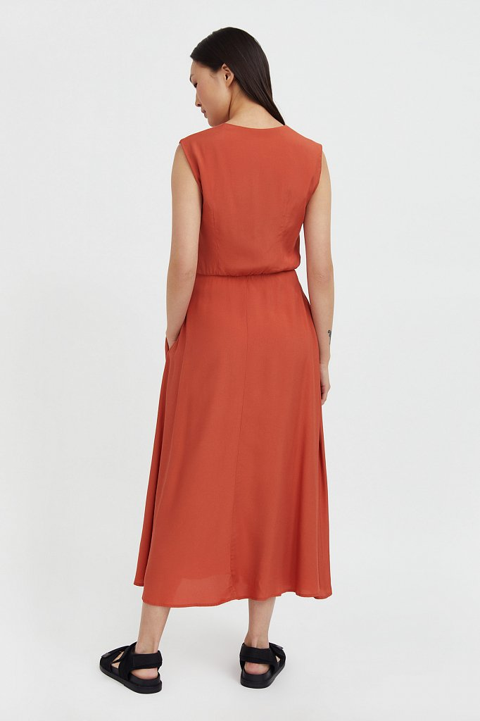 Платье-миди с V-образным вырезом, Модель S21-32009, Фото №4