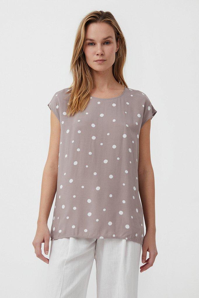 Блуза без рукавов с принтом, Модель S21-110101, Фото №2