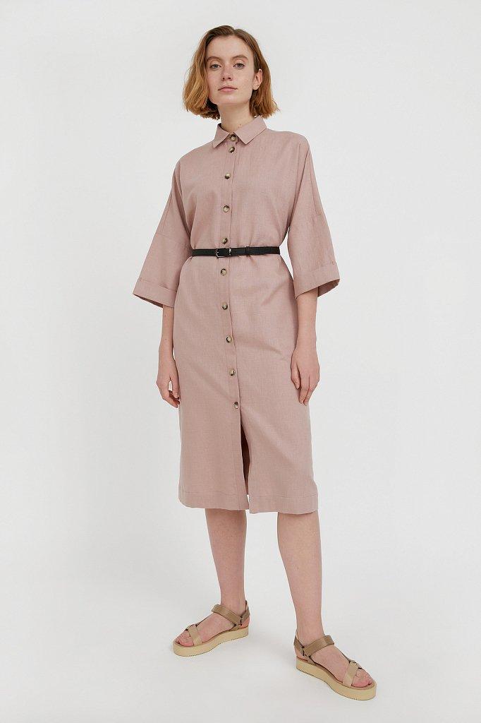 Платье-рубашка из хлопка и льна, Модель S21-11050, Фото №2