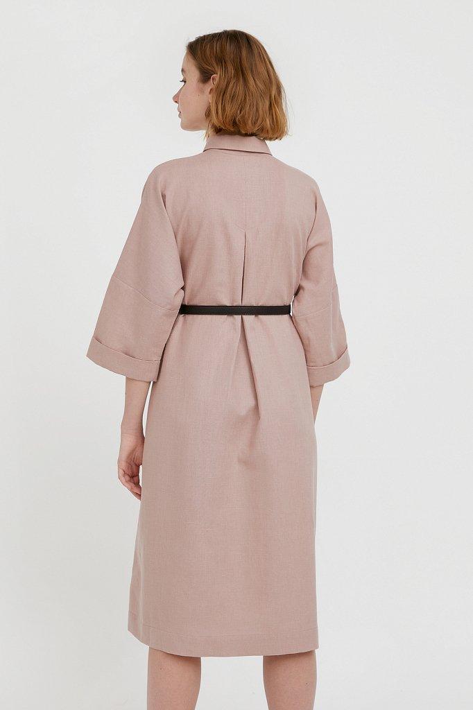 Платье-рубашка из хлопка и льна, Модель S21-11050, Фото №4