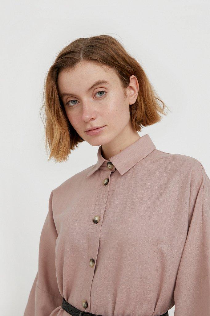 Платье-рубашка из хлопка и льна, Модель S21-11050, Фото №6