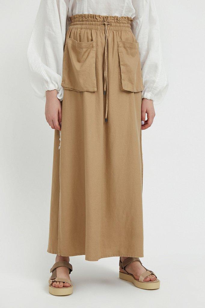 Льняная юбка макси, Модель S21-12074, Фото №2