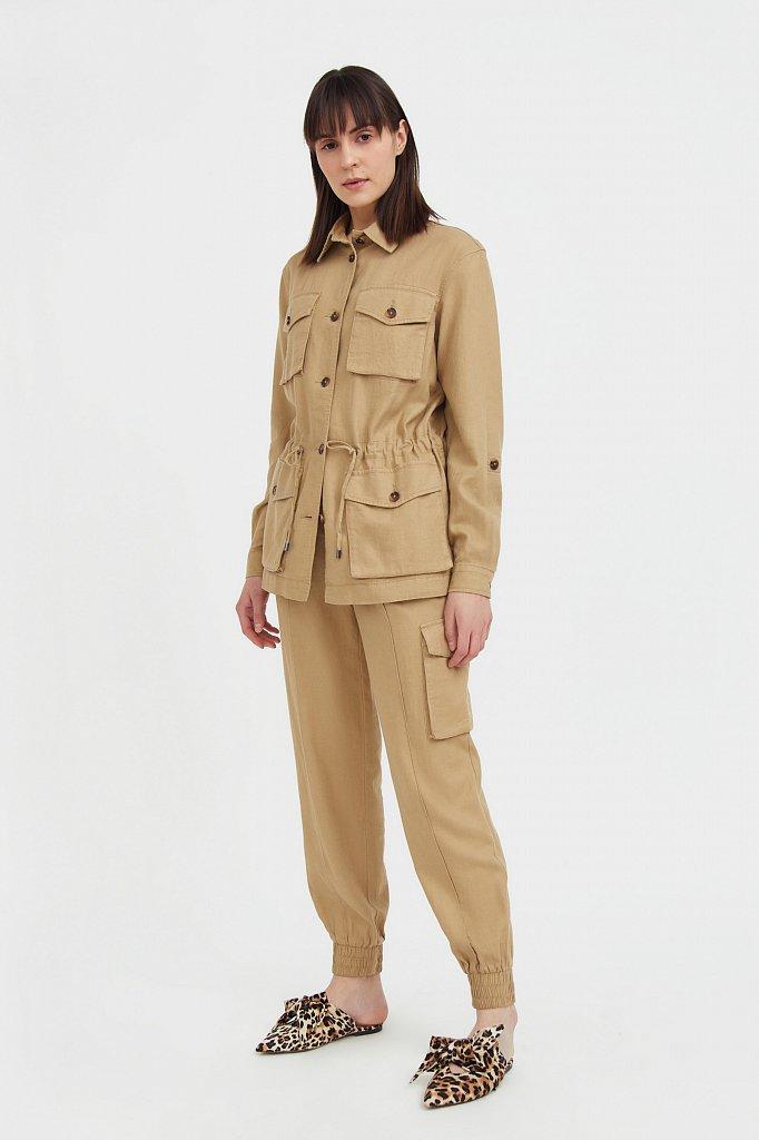 Льяной жакет с накладными карманами, Модель S21-12075, Фото №3