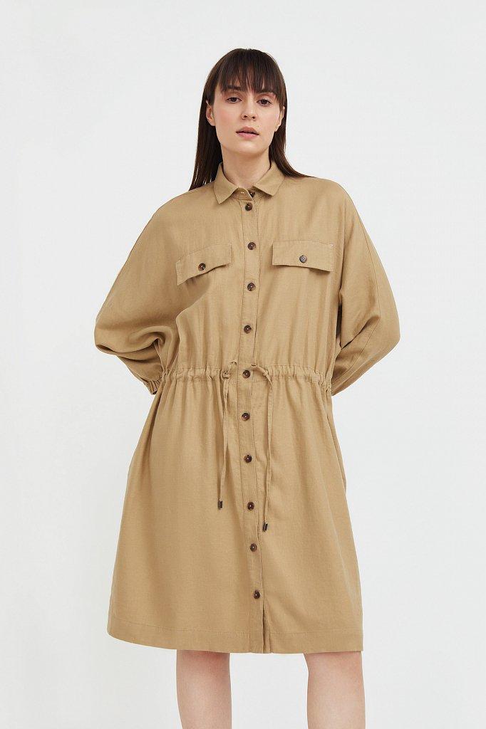 Льняное платье-рубашка, Модель S21-12077, Фото №1