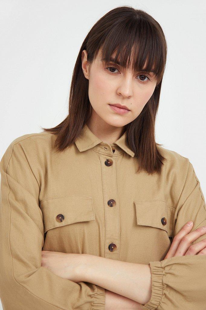 Льняное платье-рубашка, Модель S21-12077, Фото №6