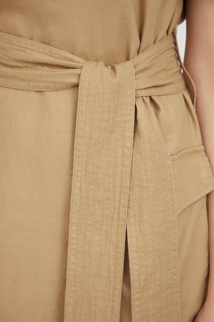 Льняной сарафан с поясом, Модель S21-12078, Фото №5