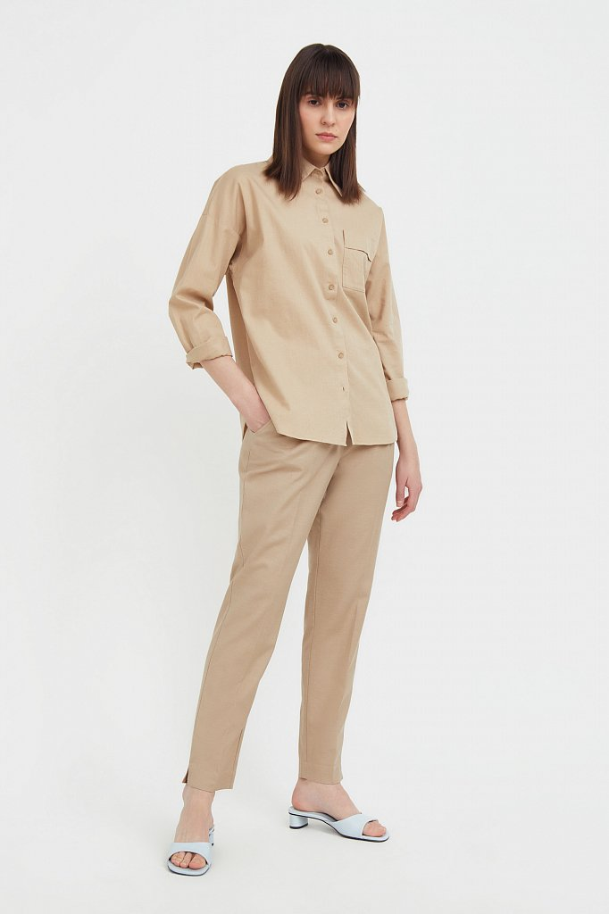 Однотонная рубашка из хлопка, Модель S21-11006, Фото №1