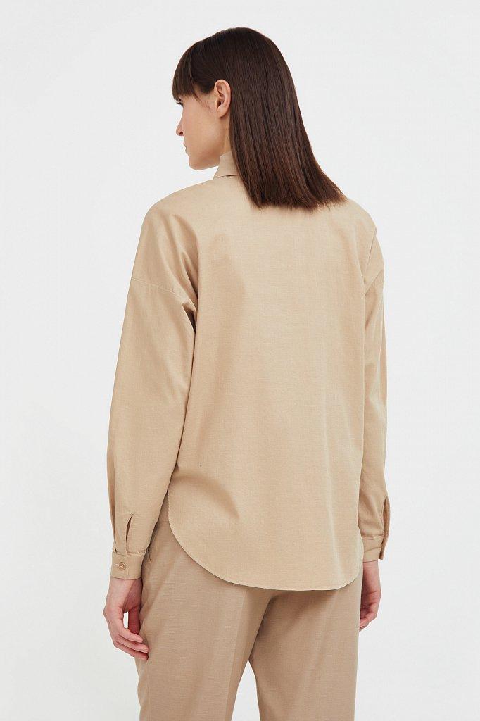 Однотонная рубашка из хлопка, Модель S21-11006, Фото №4