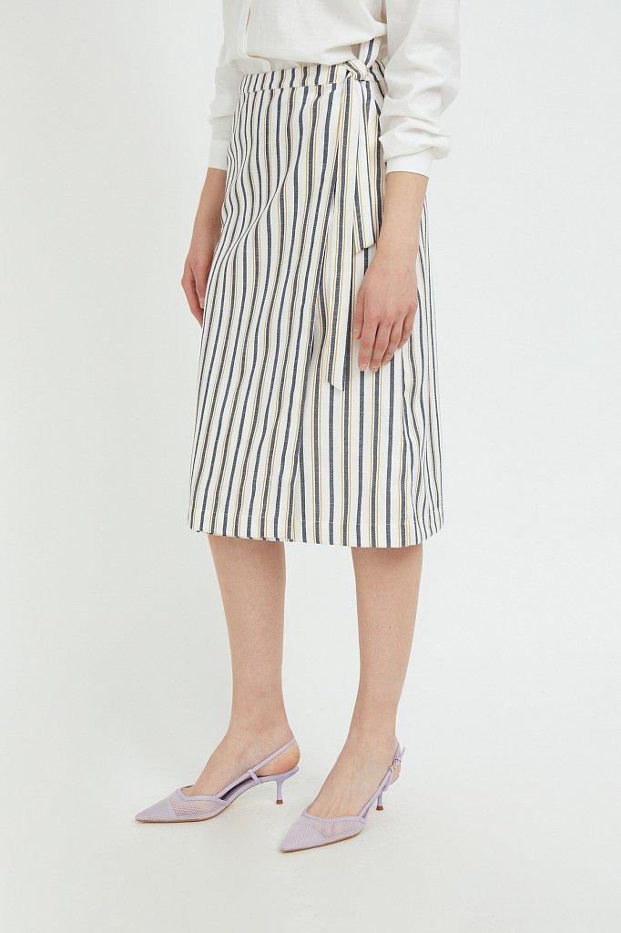 Полосатая юбка миди с запахом, Модель S21-110117, Фото №3