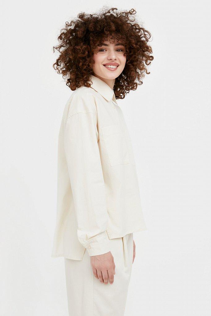 Хлопковая рубашка оверсайз, Модель S21-11051, Фото №3