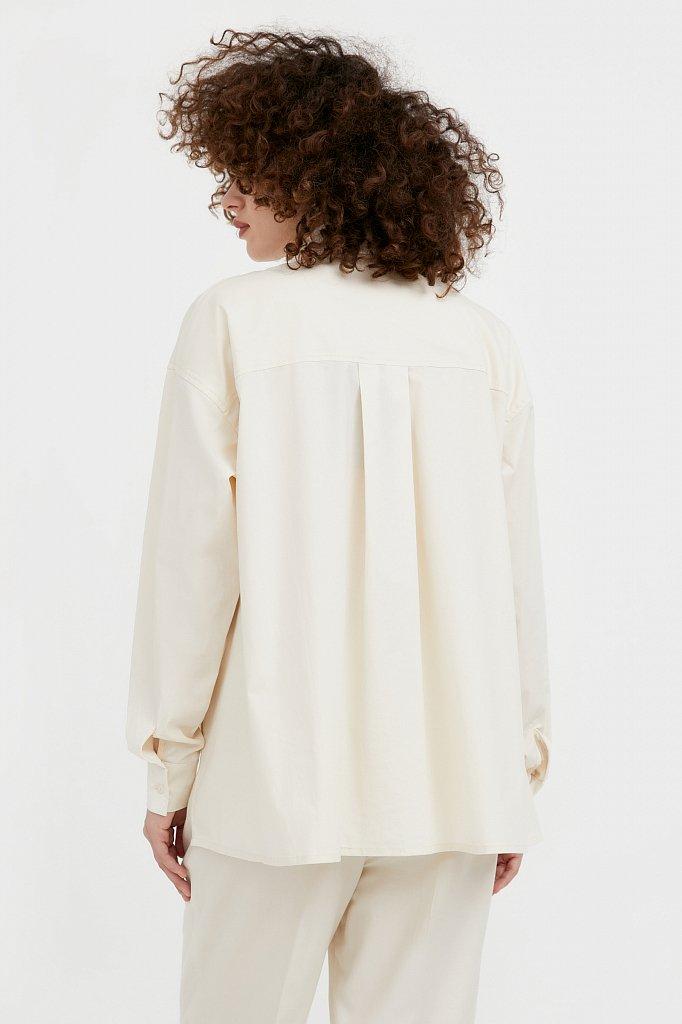 Хлопковая рубашка оверсайз, Модель S21-11051, Фото №4