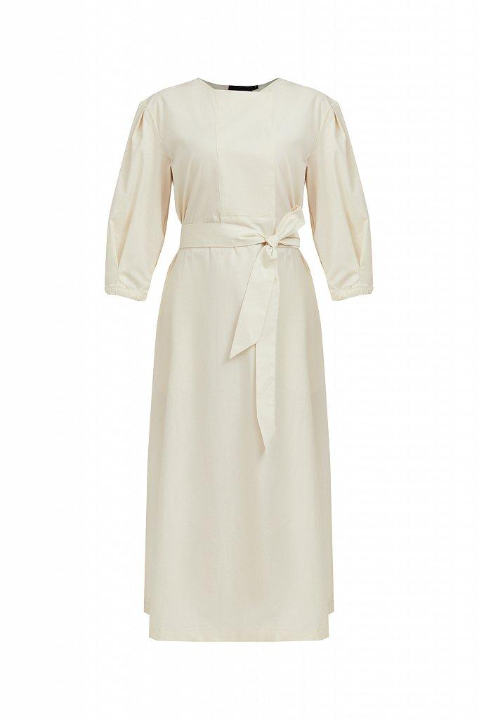 Хлопоковое платье миди с поясом, Модель S21-11052, Фото №7