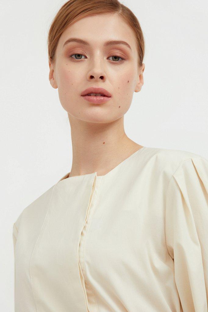 Хлопоковое платье миди с поясом, Модель S21-11052, Фото №6