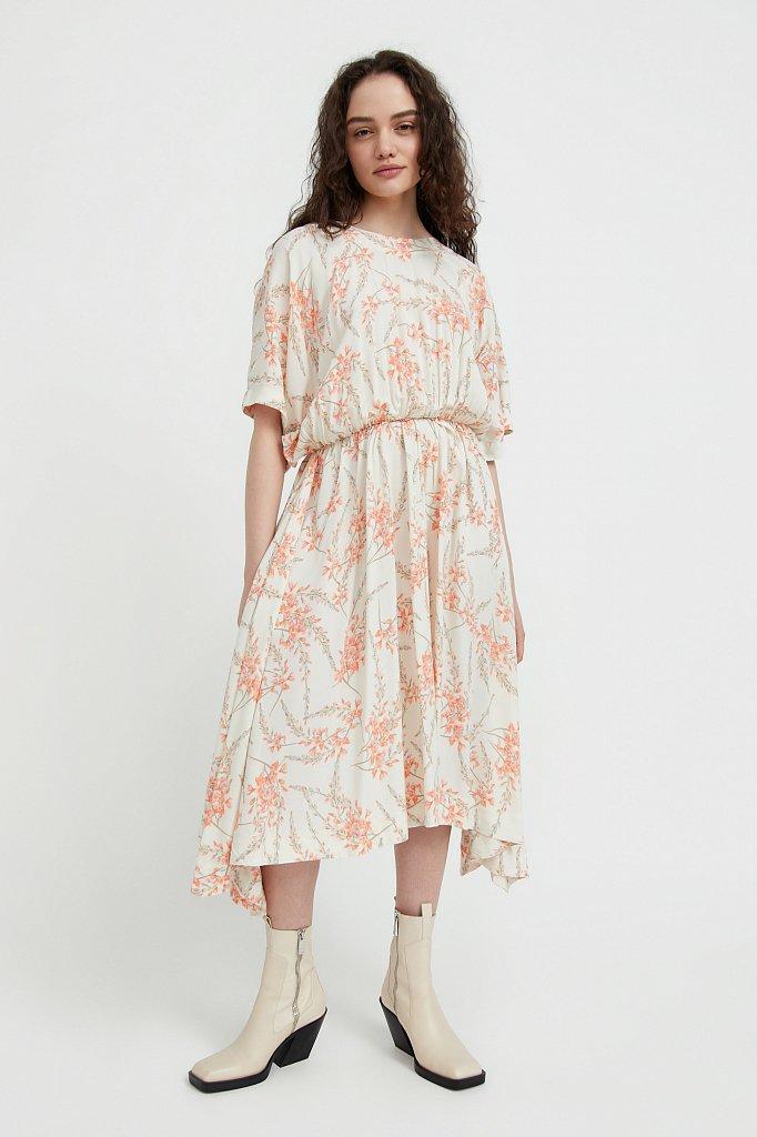 Асимметричное платье с принтом, Модель S21-11065, Фото №1