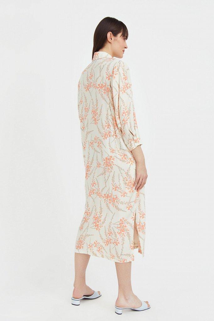 Платье-рубашка с растительным принтом, Модель S21-11066, Фото №4