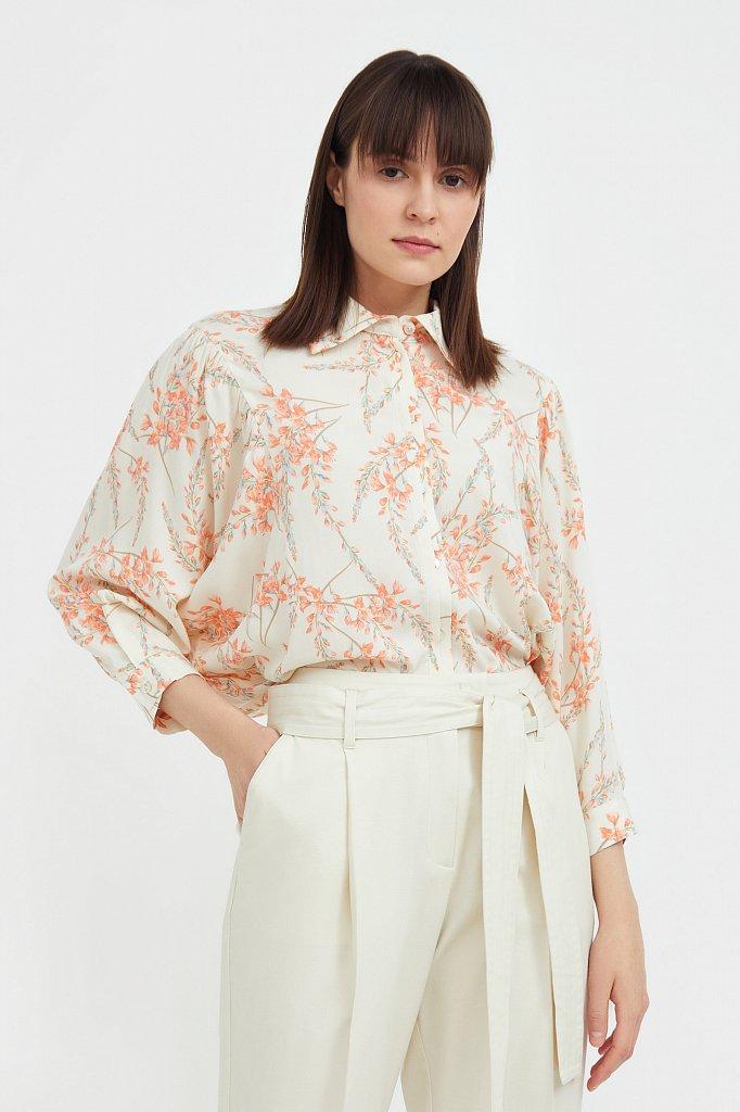 Рубашка с цветочным принтом, Модель S21-11068, Фото №1