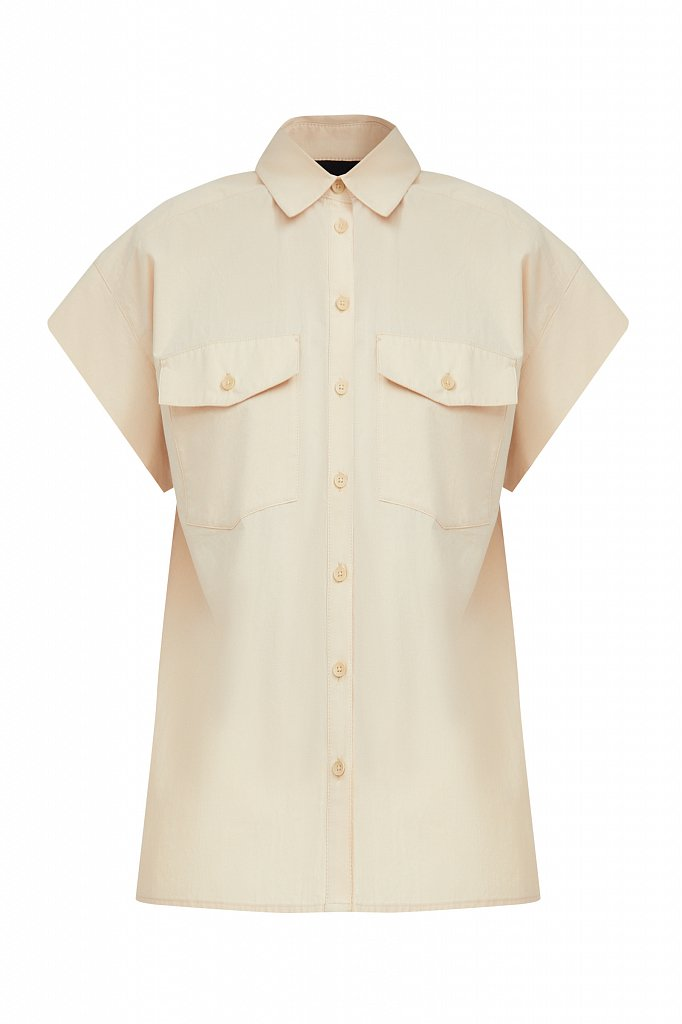 Хлопковая рубашка с короткими рукавами, Модель S21-11082, Фото №7