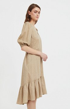 Платье асимметричного кроя с принтом S21-12044