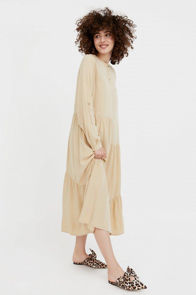 Платье-макси с асимметричными воланами, Модель S21-11078, Фото №1
