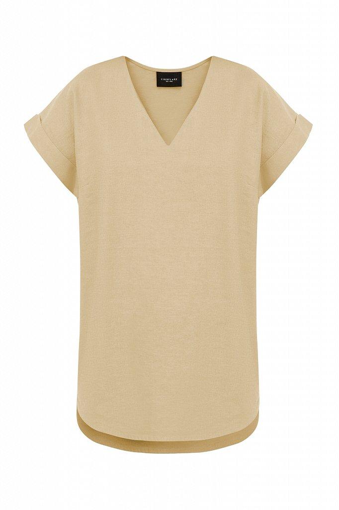 Однотонная льняная футболка, Модель S21-12017, Фото №7