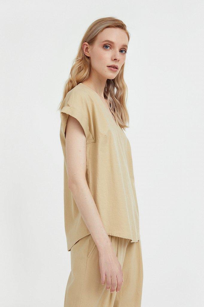 Однотонная льняная футболка, Модель S21-12017, Фото №3
