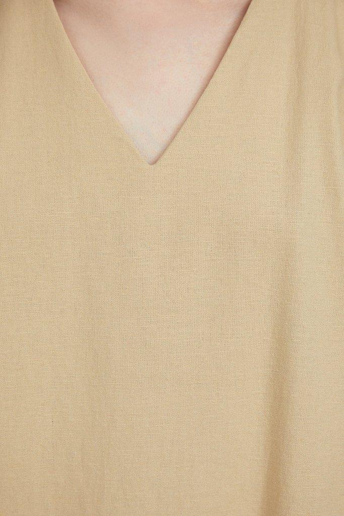 Однотонная льняная футболка, Модель S21-12017, Фото №5