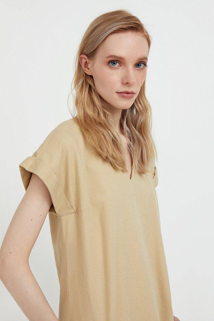 Однотонная льняная футболка, Модель S21-12017, Фото №6