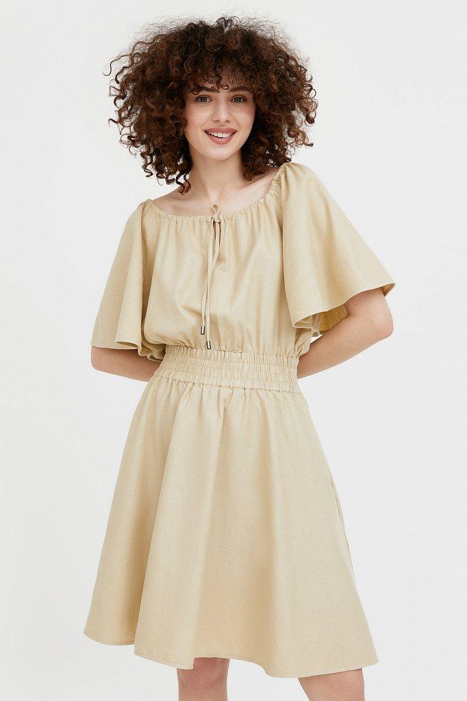 Платье-мини с объемными рукавами, Модель S21-12018D, Фото №1