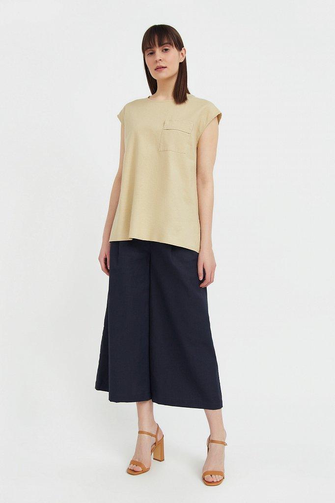Льняная блузка асимметричного кроя, Модель S21-12026, Фото №3