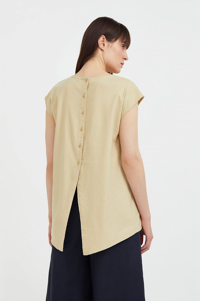 Льняная блузка асимметричного кроя, Модель S21-12026, Фото №4