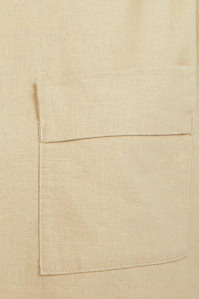 Льняная блузка асимметричного кроя, Модель S21-12026, Фото №5