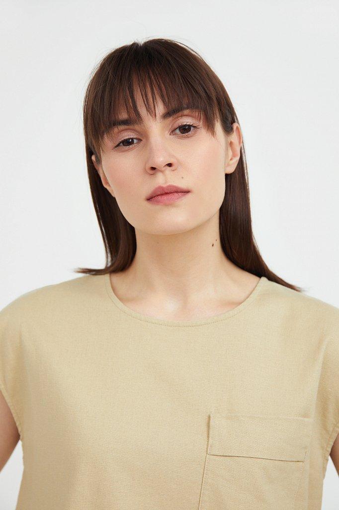 Льняная блузка асимметричного кроя, Модель S21-12026, Фото №6