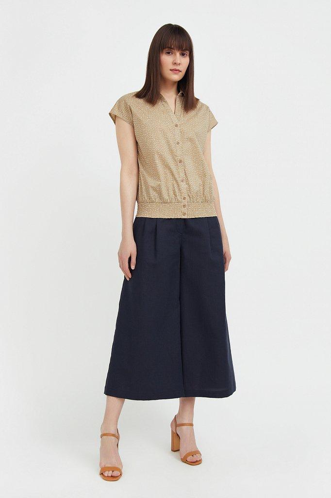 Хлопковая блузка с пестрым принтом, Модель S21-12042, Фото №1